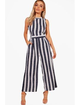 quinn-wide-stripe-culotte-jumpsuit by boohoo