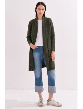 Frs Army Green Loop Knitted Cardigan by Designer