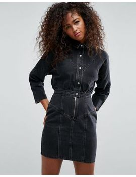 asos-denim-shirt-dress-in-washed-black by asos-collection