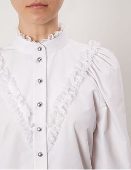 White Lace Frill Victoriana Blouse by Flow The Label