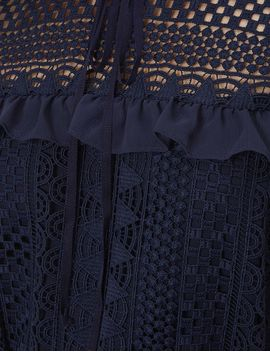 Navy Guipere Lace Victoriana Blouse by Perseverance London