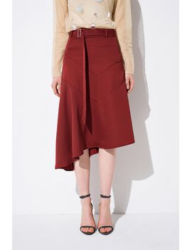Frs Red D Ring Irregular Hem Skirt by Designer