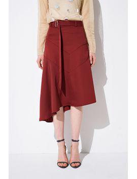 Frs Red D Ring Irregular Hem Skirt by Designer