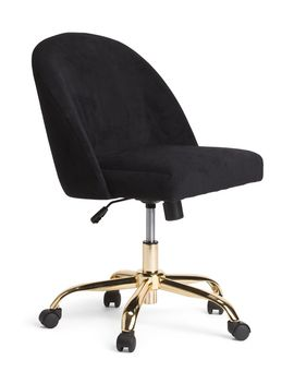Oval Back Velvet Office Chair By Bassett