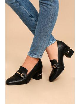 db1b6899895 Shoptagr   Steven By Steve Madden Layla Black Leather Block Heels by ...