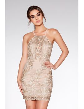 nude-and-gold-embroidered-bodycon-dress by quiz