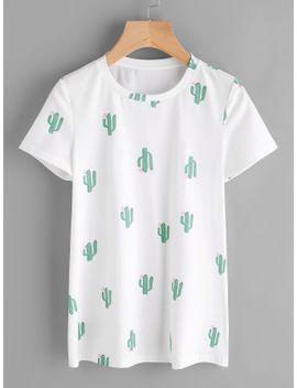 sheinallover-cactus-print-tee by sheinside