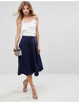 asos-scuba-prom-skirt-with-scallop-hem by asos-collection