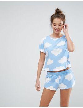 asos-cloud-print-tee-&-short-pajama-set by asos-collection