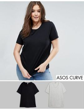 asos-curve-crew-neck-t-shirt-2-pack-save-15% by asos-curve