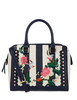 Floral Embroidered Stripe Handheld Bag by Accessorize