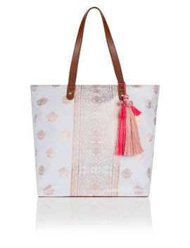 Rose Foiled Block Print Tote Bag by Accessorize