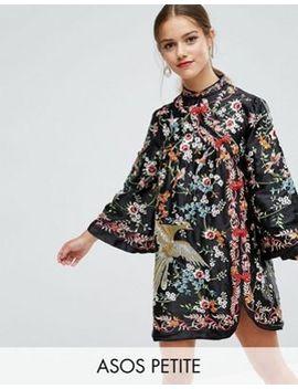asos-petite-embroidered-mandarin-collar-mini-dress by asos-petite