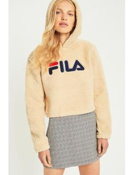 fila-cream-cropped-teddy-hoodie by fila
