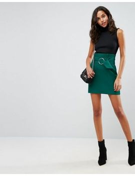 asos-tailored-mini-skirt-with-metal-circle-buckle by asos-collection
