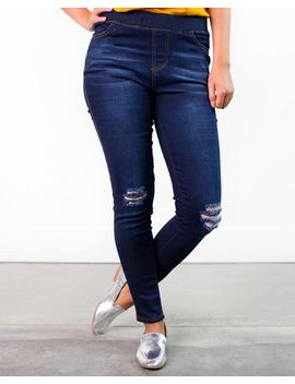 Gilda Dark Distressed Jeggings by Cents Of Style