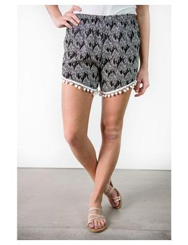 Mitzi Leaf Outline Shorts by Cents Of Style