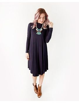 Remi Solid Long Sleeve Swing Dress by Cents Of Style
