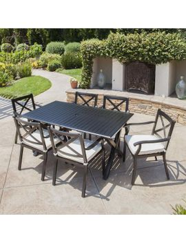 Eowyn 7 Piece Outdoor Cast Aluminum Dining Set With Expandable Table by Gdf Studio