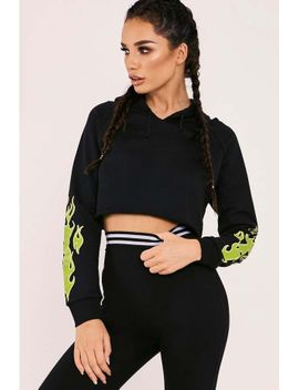 f0e0f0f5ad96 Shoptagr   Sarah Ashcroft Black Flame Cropped Hoodie by In The Style