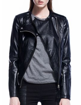 Women's Biker Jacket Turn Down Collar Pu Leather Casual Outwear by Jollychic