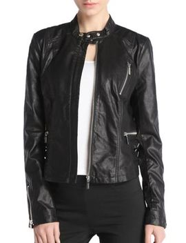 Faux Leather Zippers Black Biker Jacket by Jollychic
