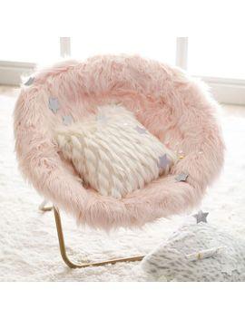 Himalayan Blush Faux Fur Hang A Round Chair By