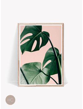 palm-leaf-print,-wall-print-,art-print,-pink-wall-art,-tropical-print,-wall-decor,-prints,-large-wall-art,-room-decor,-palm-print,-monstera by etsy