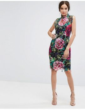 High Neck Floral Crochet Lace Pencil Dress - Black multi Paper Dolls Tall