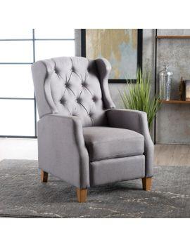Gondor Extra Plush Cushion Fabric Tufted Wingback Recliner by Gdf Studio