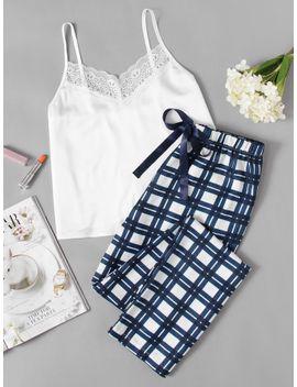 sheinlace-embellished-cami-&-plaid-pants-pajama-set by sheinside