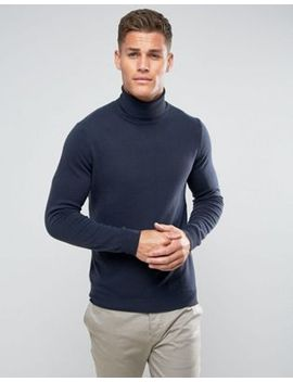 united-colors-of-benetton-100%-merino-roll-neck-jumper-in-navy by united-colors-of-benetton