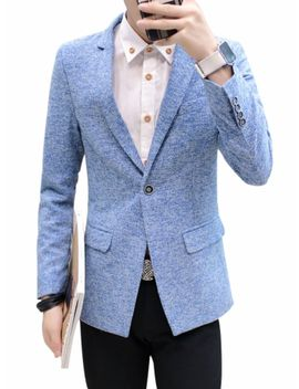 Men's Blazer Casual Fashion Slim Notched Comfy Blazer by Jollychic