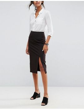 asos-design-mix-&-match-high-waisted-pencil-skirt-with-split by asos-design