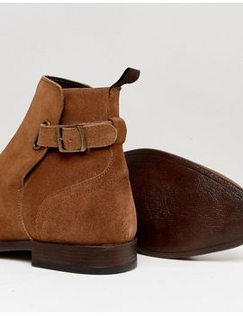 ASOS Chelsea Boots In Suede With Leather Panel And Strap Detail