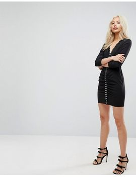 Sexy Ruched Mini Dress With Shoulder Pads and Hardware Detail - Black Asos