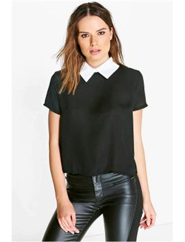 amelia-contrast-collar-blouse by boohoo