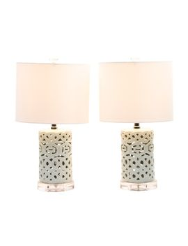 Set Of 2 Pierced Ceramic Table Lamps By J
