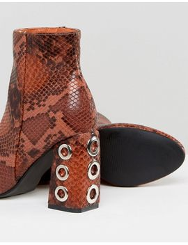 The March Snake Eyelet Detail Heeled Ankle Boots