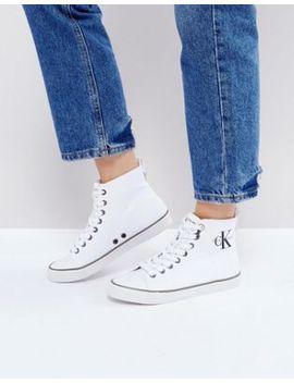 calvin-klein-dolores-white-canvas-high-top-sneakers by calvin-klein