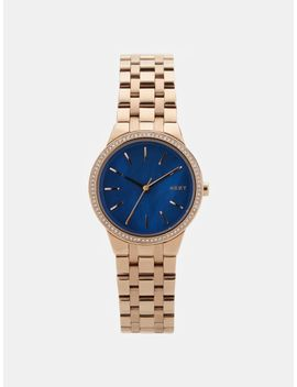 Park Slope Rose Gold Tone Stainless Steel Watch With Glitz by Dkny