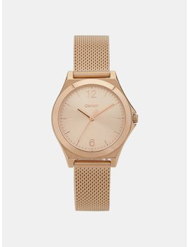 Parsons Stainless Steel Rose Gold Tone Mesh Watch by Dkny