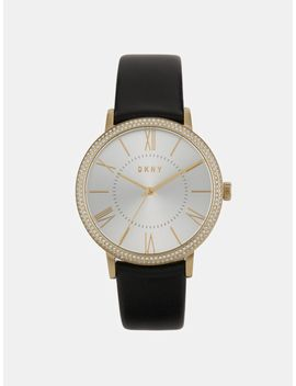 Willoughby 38mm Gold Tone Stainless Steel And Black Leather Watch With Glitz by Dkny