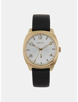 Broome 36mm Gold Tone Stainless Steel And Black Leather Watch by Dkny