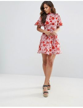 Open Back Floral Dress - Pink Missguided Tall