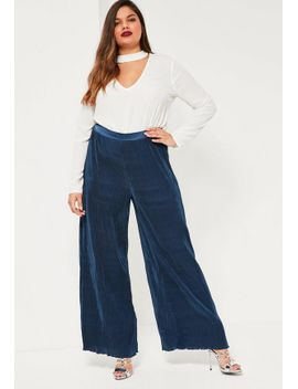 Missguided Curve Navy Wide Pleated Trousers