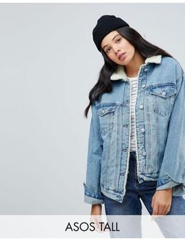 asos-tall-denim-borg-jacket-in-midwash-blue by asos-tall