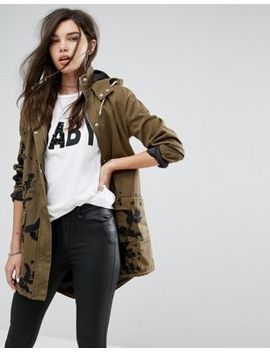 missguided-khaki-embroidered-hooded-parka-jacket by missguided