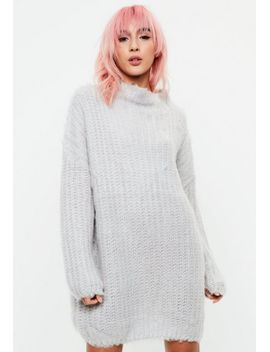 grey-chunky-mini-knitted-jumper-dress by missguided