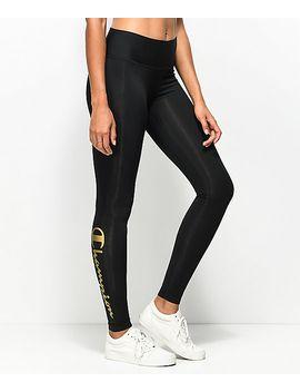 champion-black-&-gold-script-leggings by champion